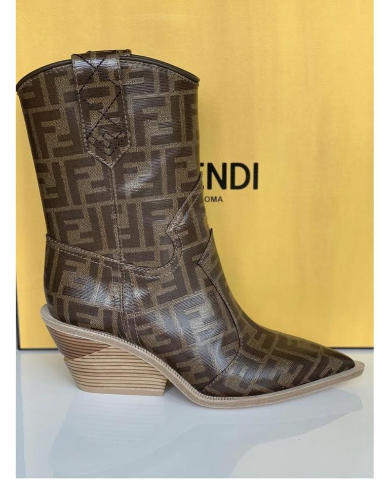fb73068487c Fendi Brown Ff Logo Cowboy Boots/Booties Size EU 38.5 (Approx. US 8.5)  Regular (M, B) 38% off retail