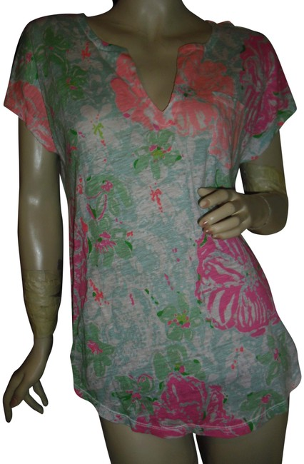 Item - Pink Green Flowers Leaves Deep V Neckline Watercolor Blouse Size 6 (S)