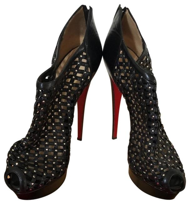 Item - Black Red Leather Kasha Caged Boots/Booties Boots/Booties Size EU 40 (Approx. US 10) Regular (M, B)
