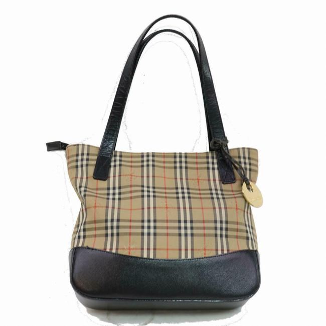 Item - Early Satchel/Tote Red Brown Black and White Nova Check Haymarket Plaid with Knights Print Canvas and Brown Leather Leather/Nova Fabric Tote