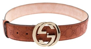 Gucci Orange Guccissima Leather Interlocking GG Buckle Belt 85CM