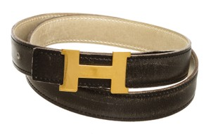 Hermès Hermes Black Gray Box Leather Reversible Mini Constance 24MM Belt 80