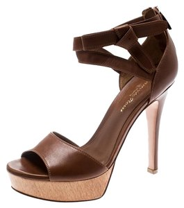 Gianvito Rossi Leather Ankle Strap Platform Brown Sandals