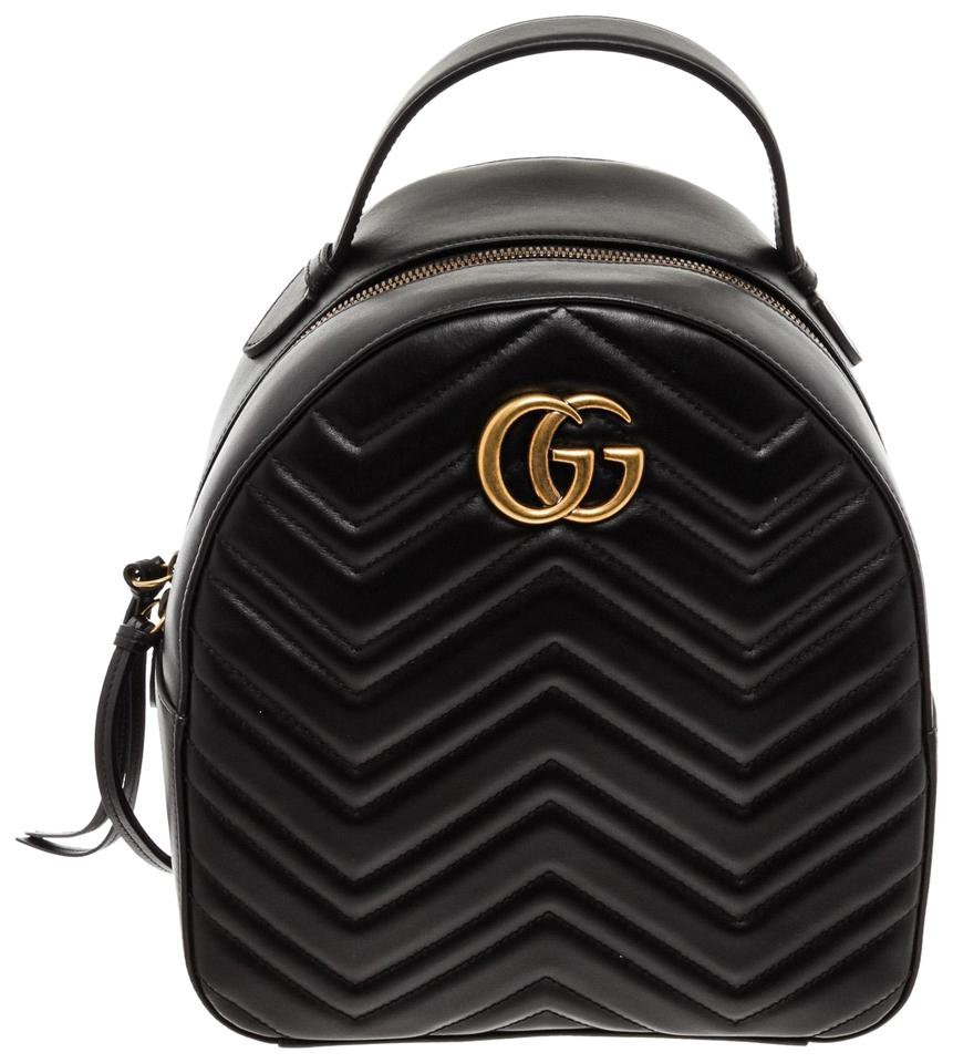 56d148fb9 Gucci Marmont Quilted Gg Small Black Leather Backpack - Tradesy