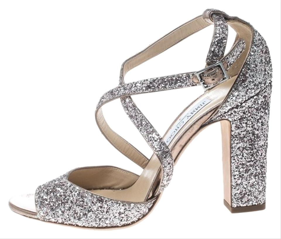 2c3835fe1d24 Jimmy Choo Metallic Rose Coarse Glitter Carrie Cross Strap Sandals ...