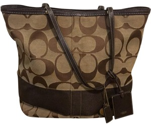 Coach Tote in Browns and light brown