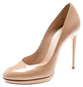 Casadei Patent Leather Platform Beige Pumps