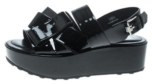 Tod's Patent Leather Slingback Black Sandals