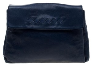 Bottega Veneta Leather Blue Clutch