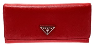 Prada Red Saffiano Triang Leather Continental Wallet