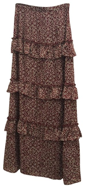 Item - Deep Red Floral Ruffle Skirt Size 6 (S, 28)
