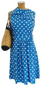 Modcloth short dress Blue with White Polka Dots Retrto Fit And Flare Knit on Tradesy