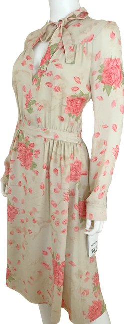 Item - New - Pink Floral Mid-length Cocktail Dress Size 4 (S)
