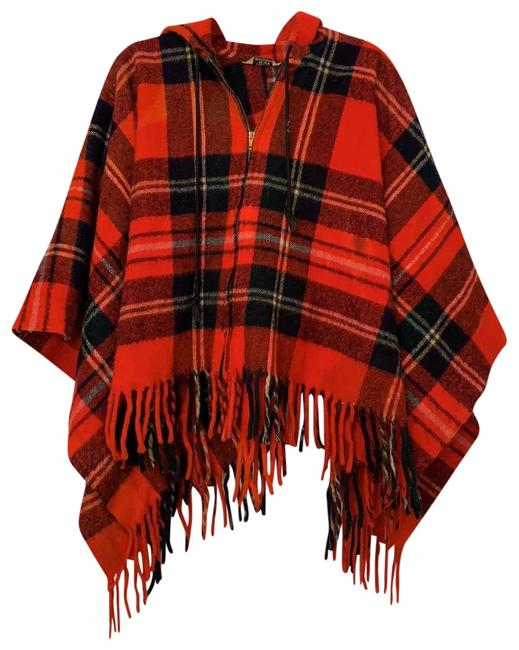 Item - Red Black Plaid Poncho/Cape Size OS (one size)