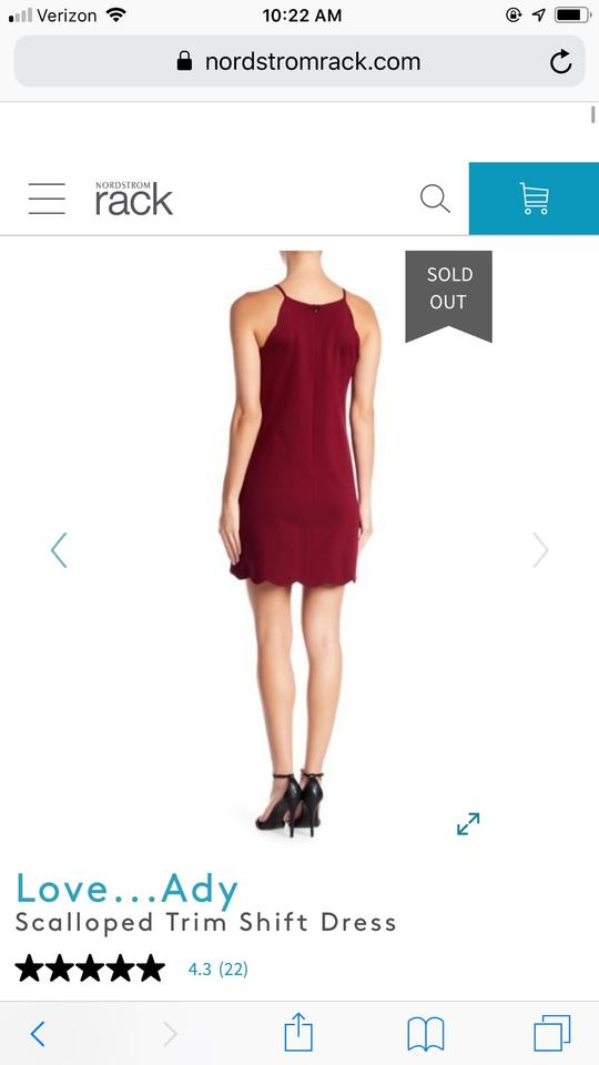 f5a74a4fd639 Love Ady Cherry Red Scalloped Trim Shift Short Cocktail Dress Size 6 ...