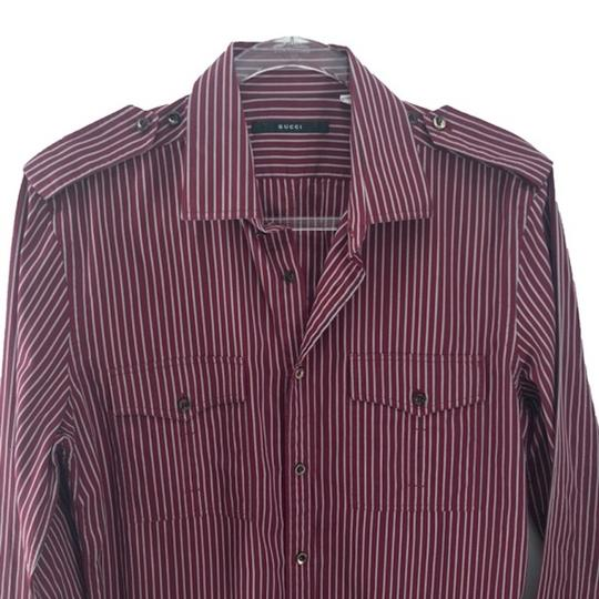 Gucci Burgundy Men's Striped Dress Shirt Groomsman Gift Image 1