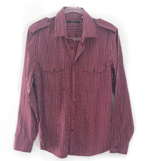 Gucci Burgundy Men's Striped Dress Shirt Groomsman Gift Image 3
