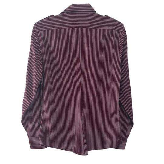 Gucci Burgundy Men's Striped Dress Shirt Groomsman Gift Image 4