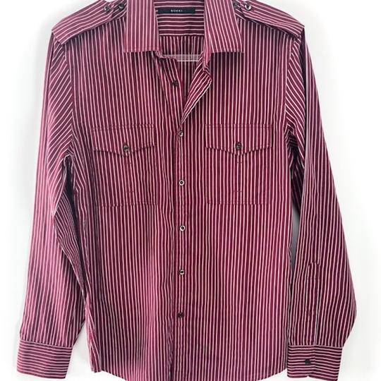 Gucci Burgundy Men's Striped Dress Shirt Groomsman Gift Image 5