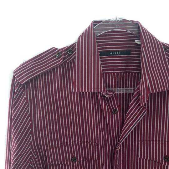 Gucci Burgundy Men's Striped Dress Shirt Groomsman Gift Image 6
