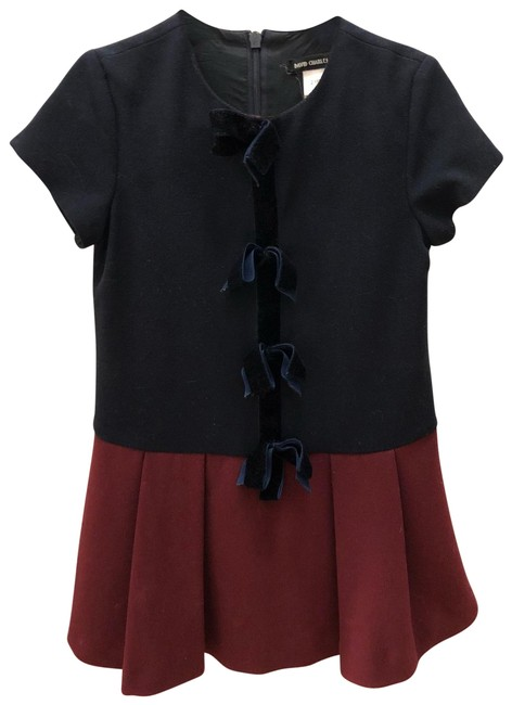 Item - Dark Blue and Burgundy Girl With Velvet Bows For 2 Years Old Mid-length Short Casual Dress Size Petite 0 (XXS)