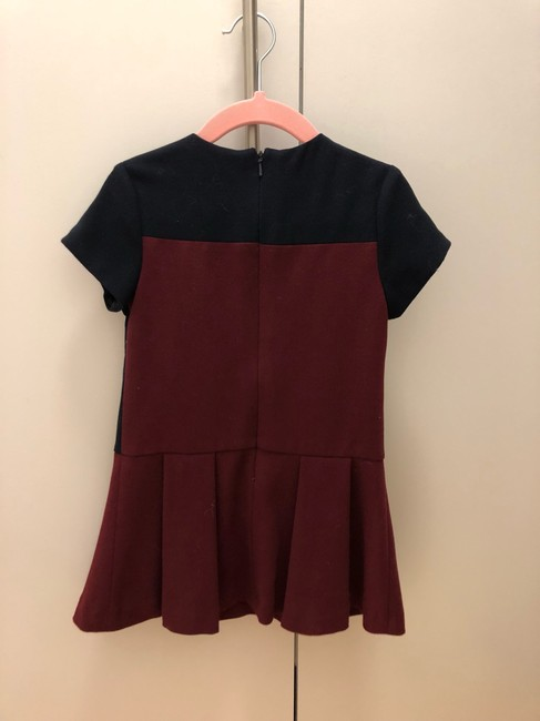 Charles David Dark Blue and Burgundy Girl With Velvet Bows For 2 Years Old Mid-length Short Casual Dress Size Petite 0 (XXS) Charles David Dark Blue and Burgundy Girl With Velvet Bows For 2 Years Old Mid-length Short Casual Dress Size Petite 0 (XXS) Image 5