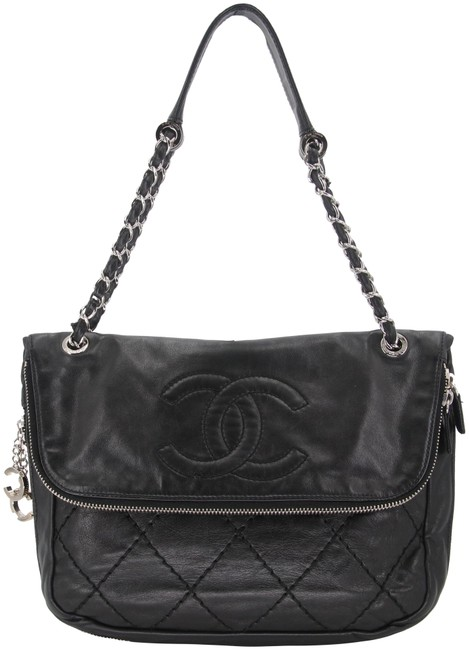 Chanel Hobo Classic Flap Expandable Ligne Stitch Quilted Large Timeless Black Lambskin Leather Shoulder Bag Chanel Hobo Classic Flap Expandable Ligne Stitch Quilted Large Timeless Black Lambskin Leather Shoulder Bag Image 1