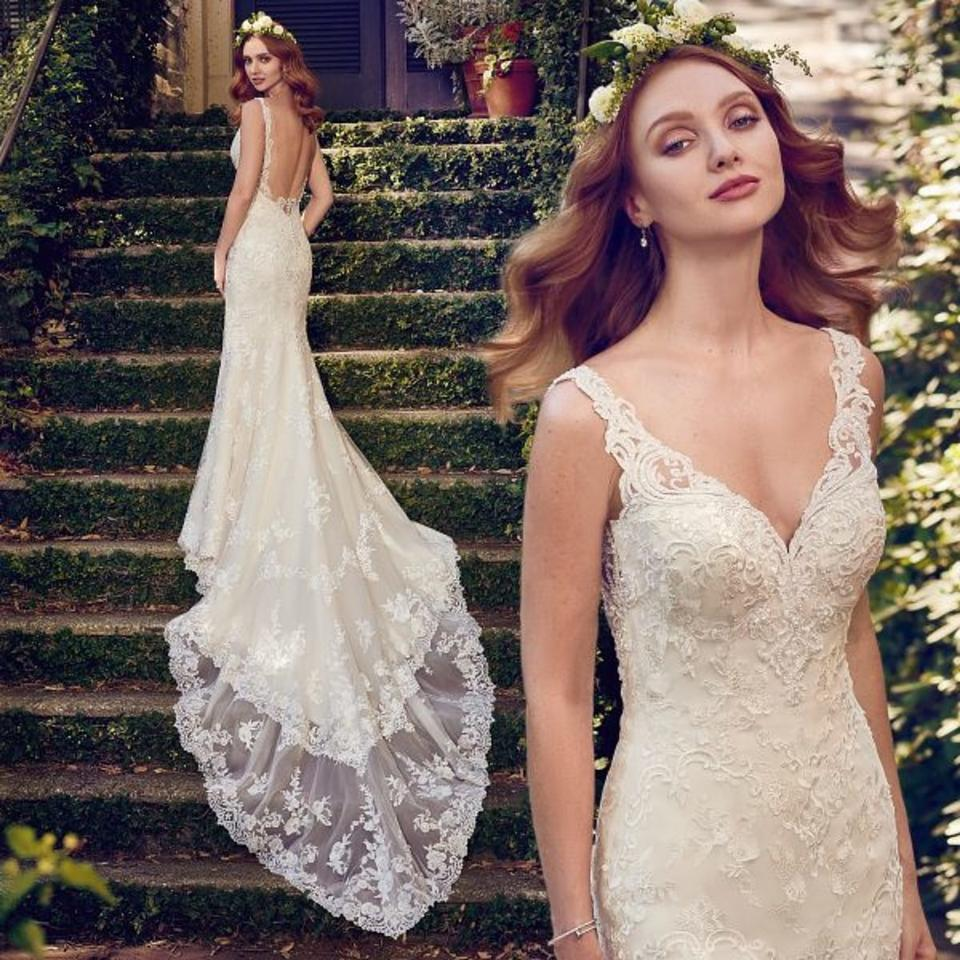 Maggie Sottero Lace Wedding Gown: Maggie Sottero Antique Ivory Tulle With Lace Motifs Zamara