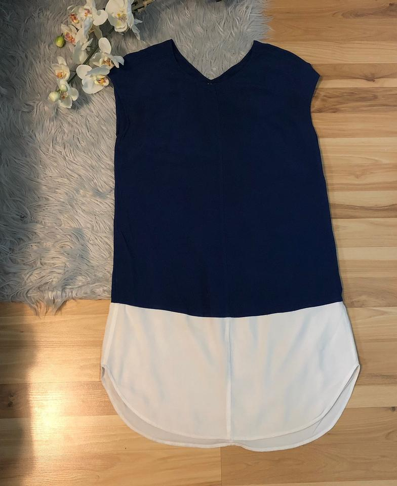 db1aa5d69e2 Madewell Blue & White Colorblock Layout Tunic Short Casual Dress ...