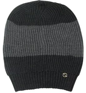 Gucci Gucci 100% Wool Web Stripe Gray/Graphite Winter Cap #310777