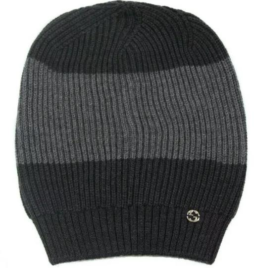 Gucci Gucci 100% Wool Web Stripe Gray/Graphite Winter Cap #310777 Image 2