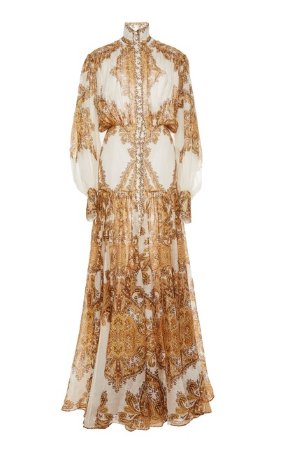 Preload https://img-static.tradesy.com/item/25543437/dior-bella-cream-and-yellow-queen-paisley-puff-sleeve-maxi-long-cocktail-dress-size-0-xs-0-0-650-650.jpg