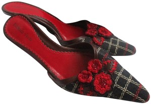 Isabella Fiore Fabric Plaid Kitten Heels Beading Black Red Brown Mules
