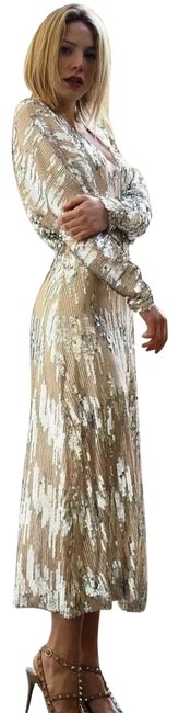 Item - Gold/Silver Sequin Midi Mid-length Night Out Dress Size 8 (M)