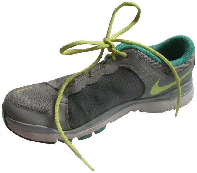Item - Gray Aqua Yellow Lace-up Sneakers Size US 7.5 Regular (M, B)