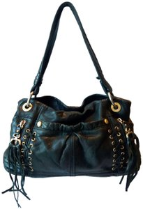 B. Makowsky Leather Cross Stitching Tassels Biker Hobo Shoulder Bag