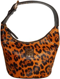 Dooney & Bourke Bucket Coated Canvas Leopard Hobo Bag