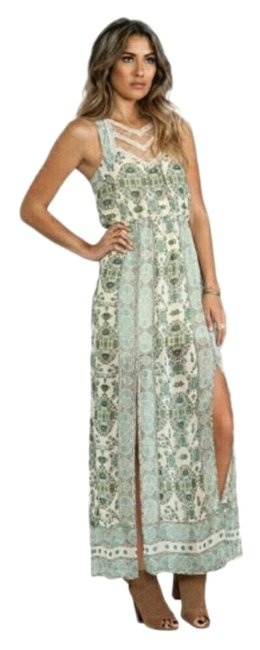 Free People Cream and Green Long Casual Maxi Dress Size 6 (S) Free People Cream and Green Long Casual Maxi Dress Size 6 (S) Image 1
