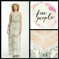 Free People Cream and Green Long Casual Maxi Dress Size 6 (S) Free People Cream and Green Long Casual Maxi Dress Size 6 (S) Image 2