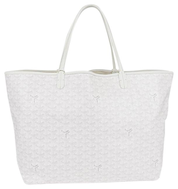 Item - Bag Chevron Print St. Louis Gm White Leather Coated Canvas Tote