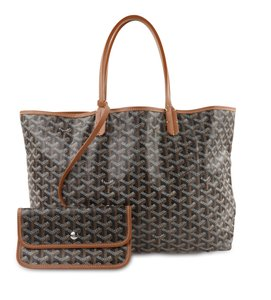 Goyard Leather Canvas Silver Hardware Tote in Brown