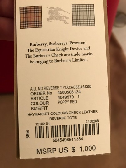 Burberry Reversible Haymarket Reverse Leather Tote in Red Image 4