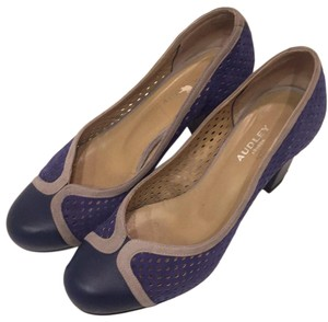 Audley Blue leather, blue and gray suede Pumps