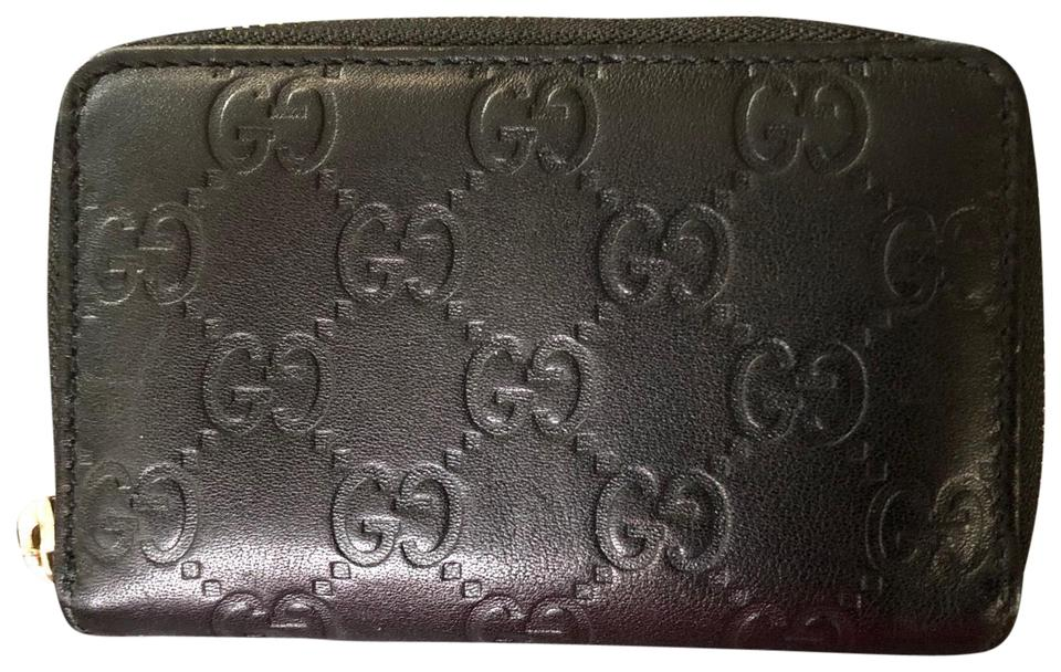 03bf3515 Gucci Black Guccissima Leather Card Holder Wallet 28% off retail