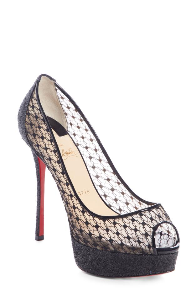 brand new 4df98 16312 Christian Louboutin Black Fetish Lace 130 Glitter Peep Toe Heels Pumps  Platforms Size EU 40 (Approx. US 10) Regular (M, B) 27% off retail