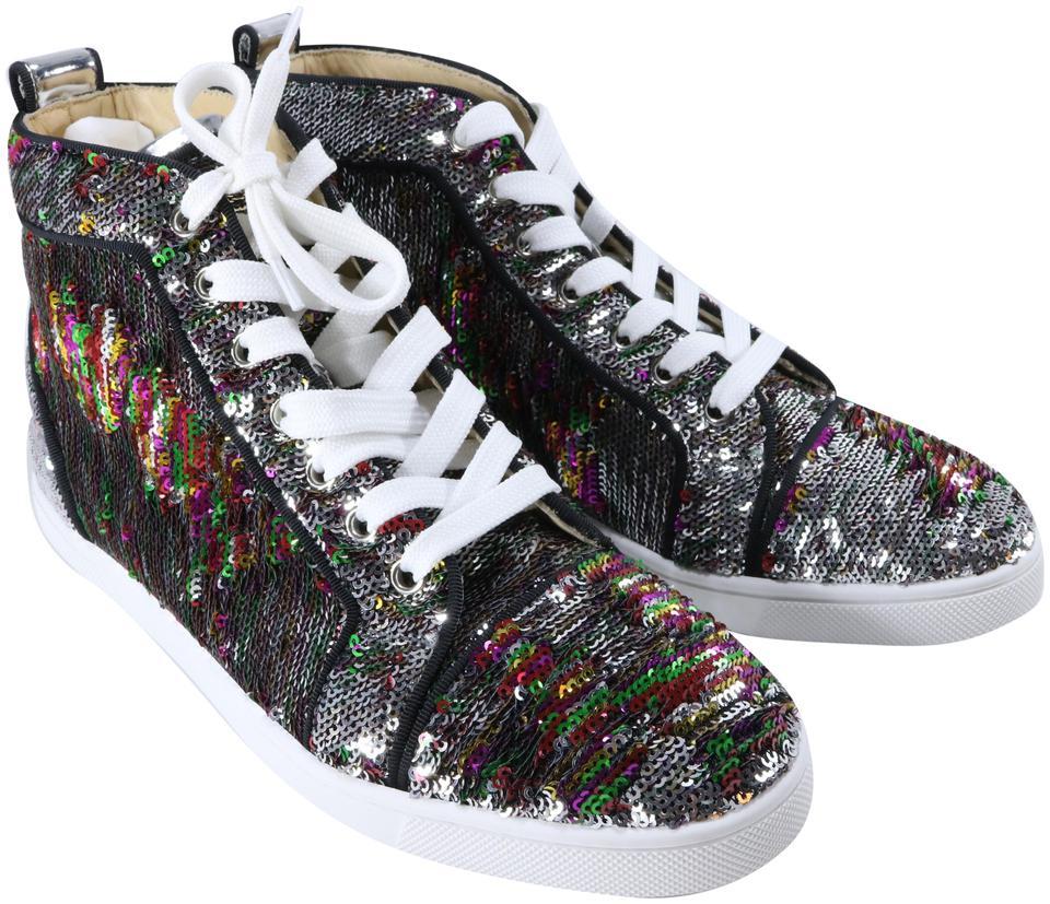 huge selection of f0723 58589 Christian Louboutin Multicolor Bip Bip Woman Orlato Flat Paillettes High  Top A484 Sneakers Size EU 37.5 (Approx. US 7.5) Regular (M, B) 30% off  retail