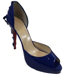 Christian Louboutin Patent Leather Red Bottom Bow Blue Platforms