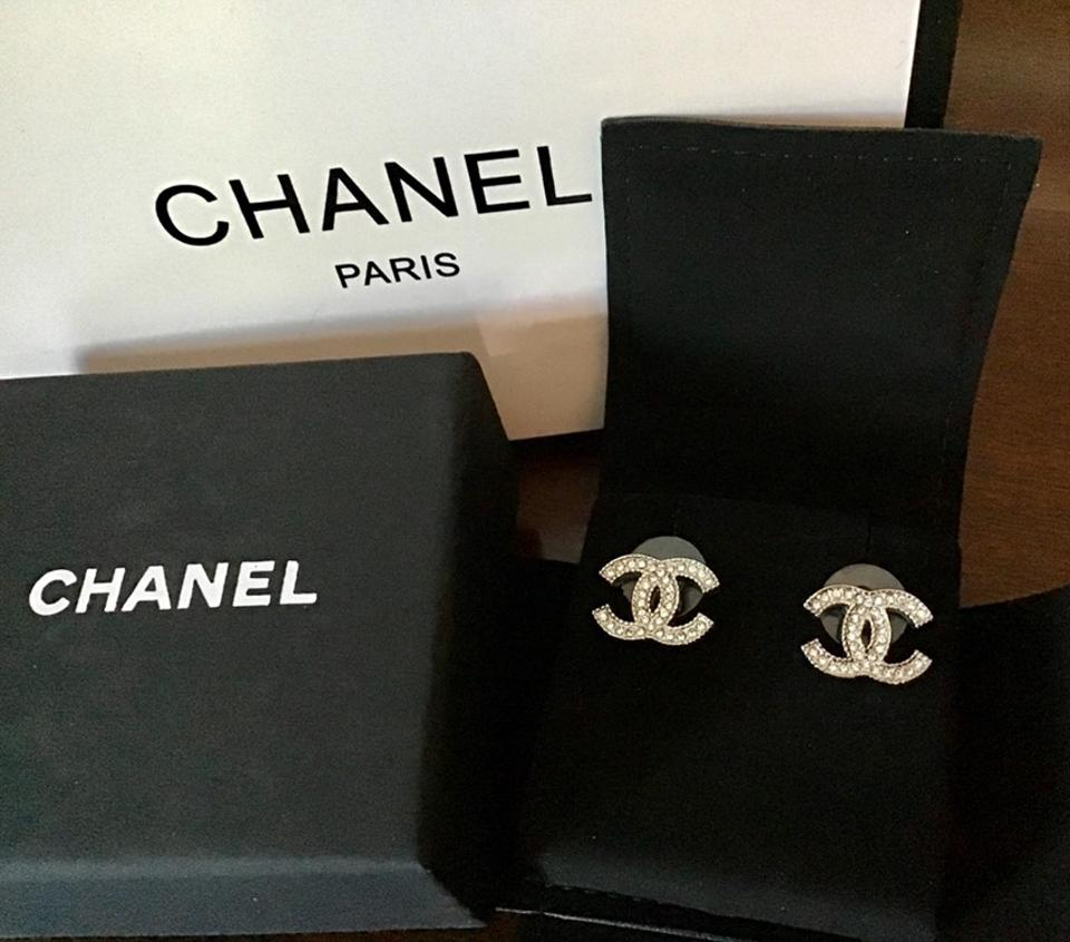6a315aa7e Chanel Silver Cc Logo Swarovski Studs Mint Cond-stamped Earrings ...