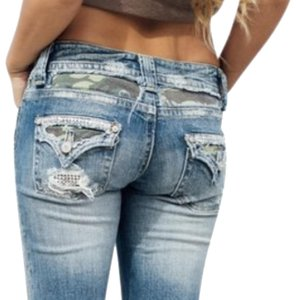 Miss Me Camo Stretchy Bling Capri/Cropped Denim-Distressed