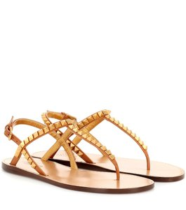 Valentino Studded Rockstud Thong T Strap Brown/Gold Sandals